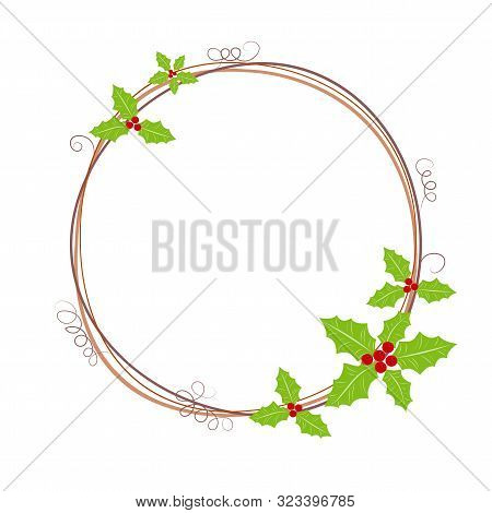 Happy New Year & Merry Christmas Decoration With Wreath. Gift Card With Christmas Wreath And Garland