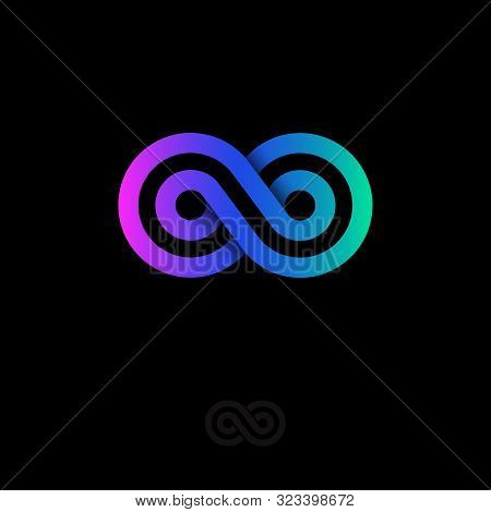 Infinity Logo, Consist Of Gradient Strips. Infinity Abstract Emblem.