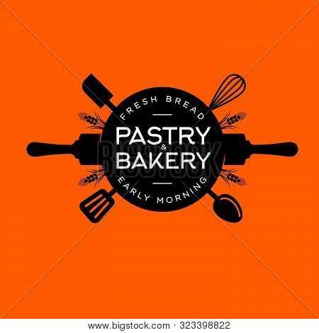 Bakery And Pastry Logo. Letters On A Circle With Utensils. Kitchen Spatula, Rolling Pin, Spoons, Whi