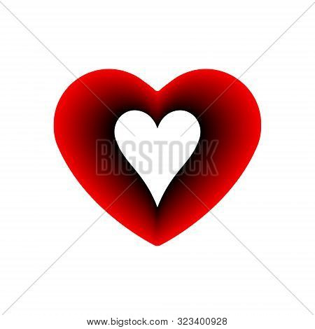Red Heart Hearts Suit Icon. A Symbol Of Love. Valentine S Day With Sign Playing Card Suits. Flat Sty