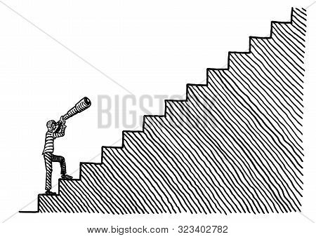 Freehand pen drawing of a business man standing at the bottom of a stairway looking up through a telescope. Metaphor for vision, acumen, goal setting, career aspiration, road to success, foresight. poster