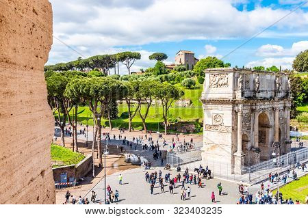 Rome, Italy - May 6, 2019: Arc Of Constantine And Palatine Hill. View From Colosseum. Rome, Italy.
