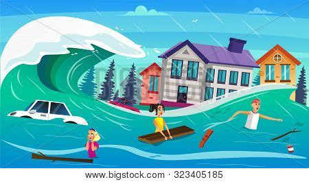 Scary Cartoon People In Water, Tsunami Wave Vector Illustration. Car Drown, Houses Submerged. Heavy