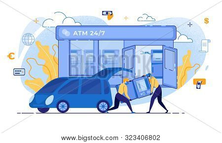 Cartoon Thieves Carry Atm To Car Vector Illustration. Man In Mask Robber Character. Burglar Steal Mo