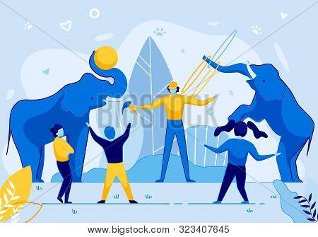 Zoo Animal Trainer Keeper Show Elephant Juggling Hoop, Play Ball Trunk Vector Illustration. Cartoon
