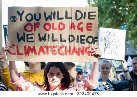 London, United Kingdom, 20th September 2019:- Climate Change Protesters Gather In Westminster, Centr