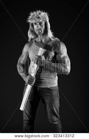 Lumberjack Woodman Sexy Naked Muscular Torso. Man Brutal Attractive Guy. Axe Woodsman Equipment. Man