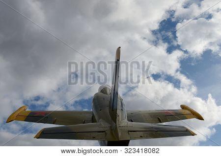 Ryazhsk, Russia - October 20, 2017:monument To Aviators Ryazhsky Garrison Aircraft L-39