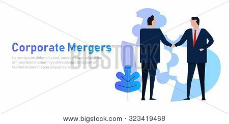 Mergers Corporate And Acquisitions. Two Company Acquisition Businessman Handshake Work Together Coll