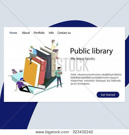 Website Template For Public Library Illustration. We Keep Books. University Library, School Archive