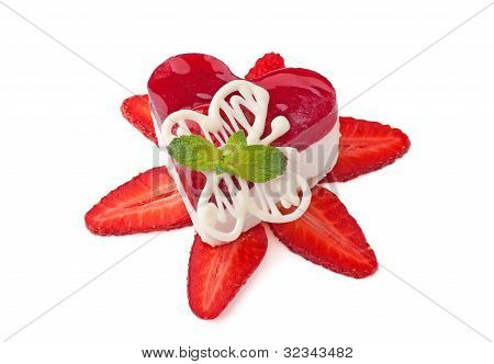 Cake-heart With Strawberry