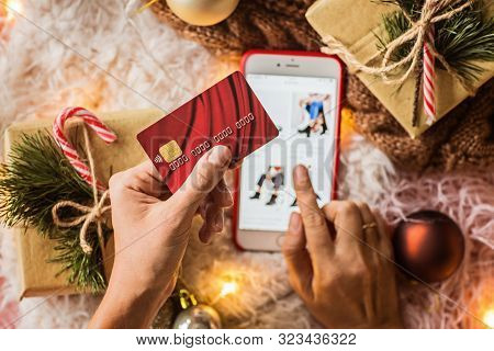 Woman Hands Holding Credit Card For Online Shopping Or Ordering. Business, Internet Shopping And Pay