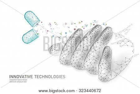 Low Poly Modern Nail Supplement Care Technology. Innovative Natural Oil Suggest Vitamin D Strengthen