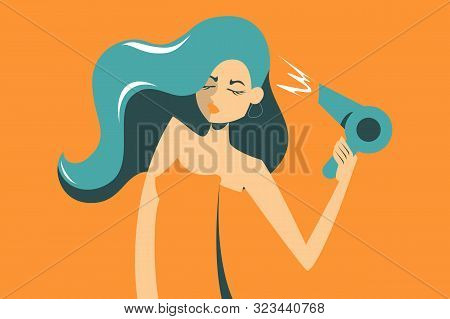Woman In Towel Dry Her Hair Using Hair Dryer Vector Illustration. Beautiful Female Holding Electric