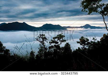 Sea Of Mist Landscape At Early Moning