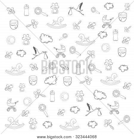 Hand Drawn Outlined Pattern With Babies Holiday Elements Such As Dummy, Baby Bottle, Stork, Baby Car
