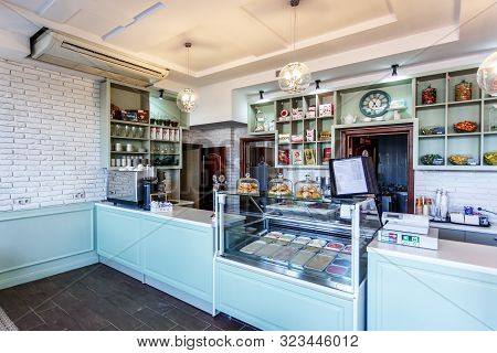 Grodno, Belarus -  August 2019: Cafeteria Windows With Pies, Pastries, Ice Cream, Pasties, Waffles,