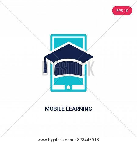 mobile learning icon in two color design style.