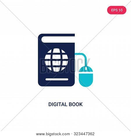 digital book icon in two color design style.