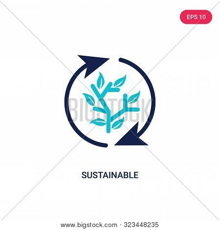 sustainable icon in two color design style.