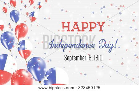 Chile Independence Day Greeting Card. Flying Balloons In Chile National Colors. Happy Independence D
