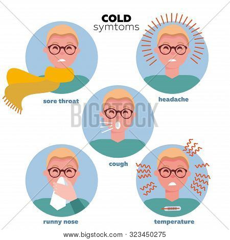 Flat Infographic - Most Commons Symptoms Of Cold And Flu. Men Faces Of Characters In Circles. Influe