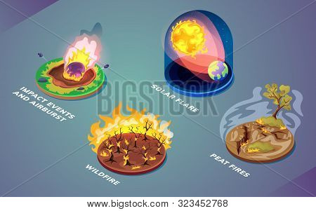 Set Of Natural Disasters Or Environmental Cataclysm, Nature Catastrophe Caused By Fire Or Space Obje