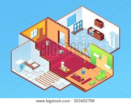 Isometric Apartment During Repair Or House, Home Rooms At Renovation. Indoor Design For Bedroom, Gue