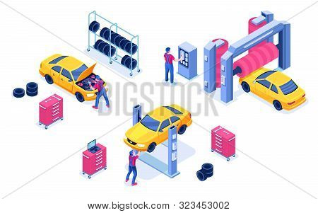 Car Service Or Auto Maintenance Garage, Transport Diagnostic Center. Isolated Vehicle Wash And Autom