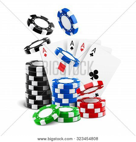 Aces Lying Near Realistic Casino Chips Or Playing Cards Of Different Suits And Stack Of Falling Gamb