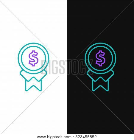 Green And Purple Line Reward For Good Work Icon Isolated On White And Black Background. Employee Of