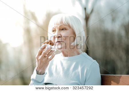 Nice Smiling Aged Madam Savoring Of A Delicious Bun Outdoor