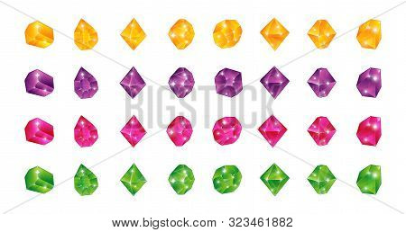 Cartoon Multicolor Gems. Gem Yellow Green Blue Pink Stones. Vector Illustration Jewels Diamonds Topa