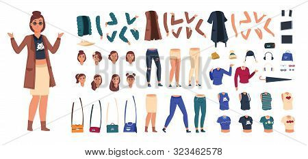 Cartoon Character Constructor. Woman In Casual Clothes Animation Set, Young Girl Body Elements And G