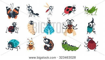 Cute Insects. Cartoon Funny Colorful Bugs Bees Hornet Butterfly Caterpillar Spider With Cute Faces F