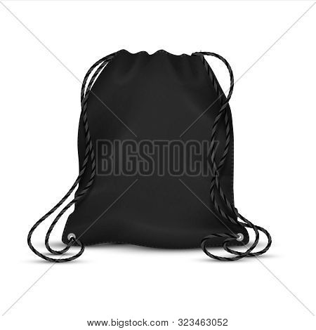Realistic Drawstring Bag. Black Sport Backpack Template With Ropes, Blank Accessory Rucksack. Vector