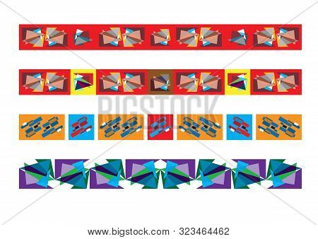 Frieze Border Patterns, Abstract Colorful Geometric Ornate Decor.