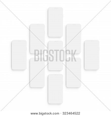 Clay Wireframe Smartphones With Blank Screens. Mockup To Showcasing Screenshots Apps. Vector Illustr