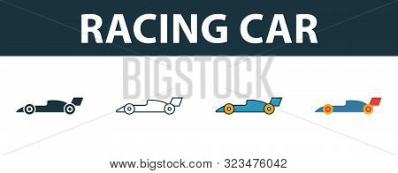 Racing Car Icon Set. Four Simple Symbols In Diferent Styles From Sport Equipment Icons Collection. C