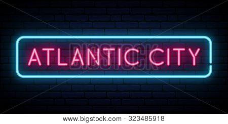Atlantic City Neon Sign. Bright Light Signboard. Vector Banner.