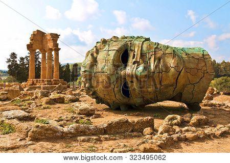 Agrigento, Sicily. Famous Valle Dei Templi, Unesco World Heritage Site. Greek Temple, Remains Of The