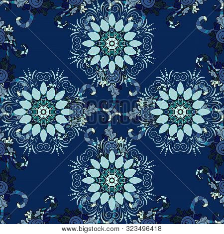 Doodles Black, Blue And Neutral On Colors. Seamless Pattern Sketch Cute Background. Nice Pattern For
