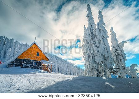 The Best Famous Winter Ski Resort In Romania. Stunning Touristic And Winter Vacation Place. Snowy Pi