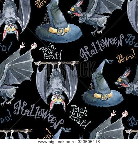 Halloween Seamless Pattern With Halloween Bat, Lettering And Witch Hat . Cute Naive Watercolor