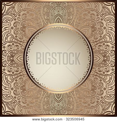 Vintage Golden Frame With Round Hole, Ornamental Swirly Background, Elegant Gold Decoration For Pack