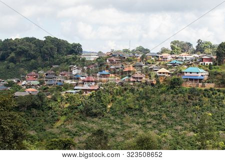 Scenics View Of Doi Chang Village In Chiang Rai Northern Of Thailand.most Of Villager In Doi Chang I