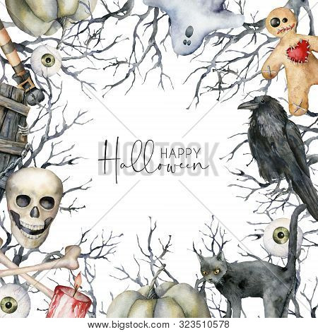 Watercolor Happy Halloween Card With Symbols. Hand Painted Holiday Template With Coffin, Skull, Crow