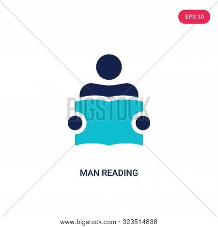 man reading icon in two color design style.