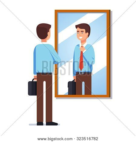 Bbusiness Man Looking At Reflection In Wall Mirror