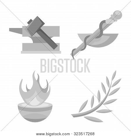Isolated Object Of Ancient And Culture Sign. Set Of Ancient And Antique Vector Icon For Stock.